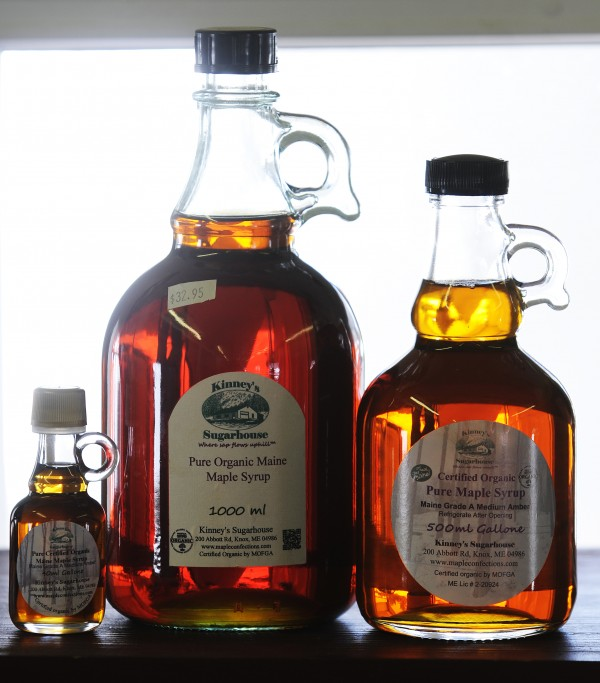 Maple syrup in glass bottles is offered for sale at Kinney's Sugarhouse in Knox on Monday.  Gov. Paul LePage believes that Maine's maple syrup industry could become a national leader. &quotWe have the trees and the resources. It's a matter of getting more people involved in the industry,&quot said LePage earlier this month.