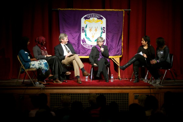 Dr. Sima Samar, (center), a renowned human rights and women's rights advocate from Afghanistan, speaks on a panel in the auditorium at Deering High School in Portland on Tuesday. Also on the panel are (from left) students Maryan Isack and Halima Noor, Portland Press Herald columnist Bill Nemitz, and students Neilab Habibzai and Aubine Ntibandetse.