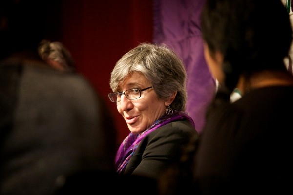 Dr. Sima Samar, a renowned human rights and women's rights advocate from Afghanistan, speaks at Deering High School in Portland on Tuesday. Samar is in Maine as part of the Justice for Women Lecture Series hosted by the University of Maine School of Law.