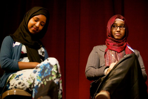Deering High School students Maryan Isack (left) and Halima Noor listen to renowned Afghan human rights and women's rights advocate Dr. Sima Samar during a panel discussion in Portland on Tuesday. Samar is in Maine as part of the Justice for Women Lecture Series hosted by the University of Maine School of Law.