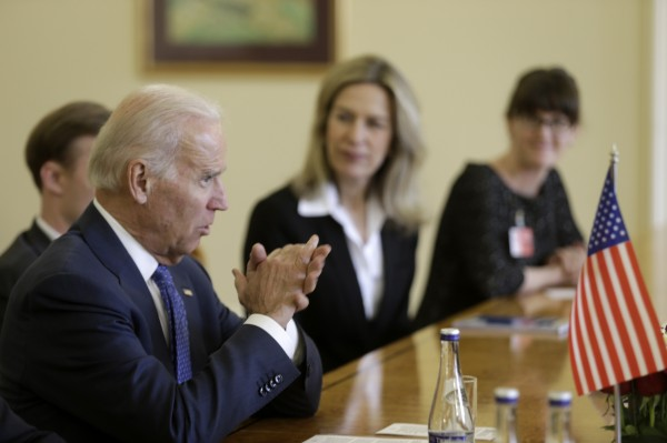 Vice President Joe Biden speaks during a meeting with Latvia's President Andris Berzins (not pictured) in Vilnius March 19, 2014.