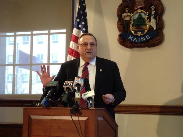 Gov. LePage speaks about the rainy day fund during a press conference in this March 2014 file photo.