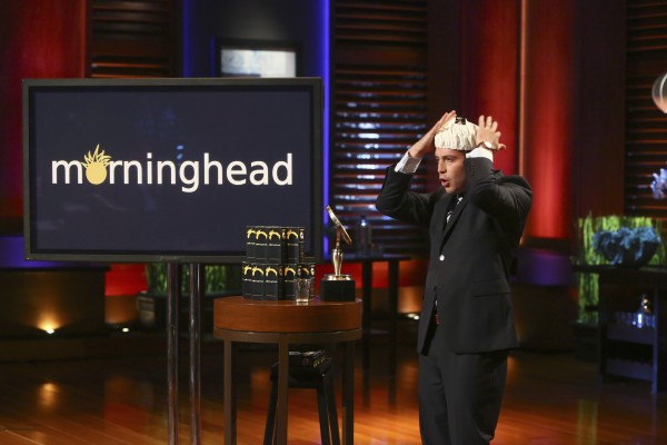 Max Valverde, a 2002 Scarborough High School graduate, shows off his &quotMorninghead&quot cap, made to overcome &quotbed hair,&quot in an upcoming episode of the hit ABC show &quotShark Tank.&quot
