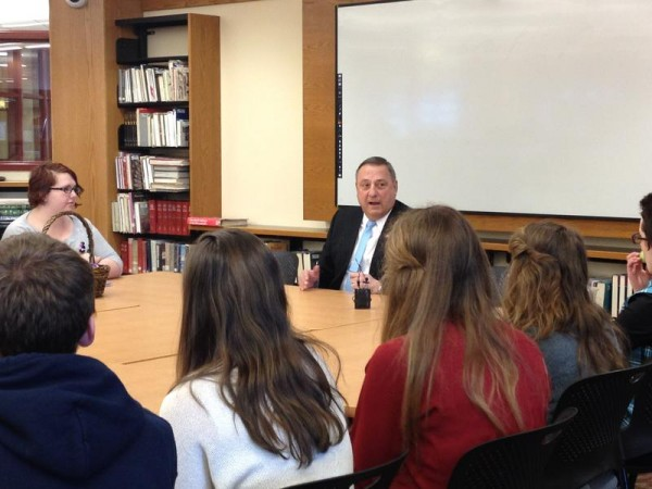 Gov. Paul LePage discusses domestic violence issues with South Portland High School students on Tuesday.