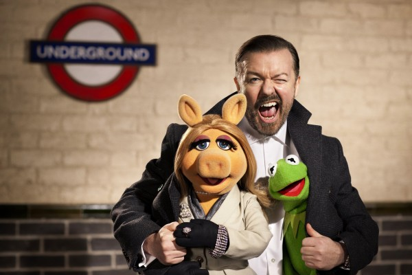 Ricky Gervais joins Miss Piggy and Kermit in &quotMuppets Most Wanted.&quot