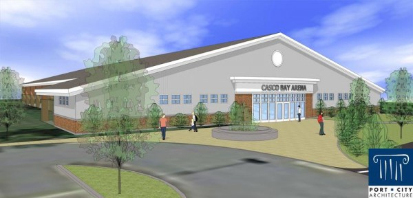 A conceptual drawing of a proposed $1.3 million ice skating facility on Hat Trick Drive in Falmouth. This angle shows the structure's facade, which will include locker- and restrooms. The rink itself will be an open-air, pavilion-style seasonal facility.