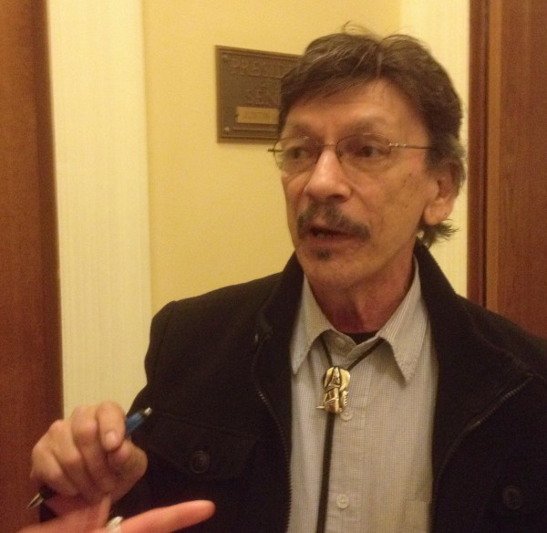 Pleasant Point Passamaquoddy Chief R. Clayton Cleaves discusses his disappointment over the rejection of bills that would have expanded tribal gaming opportunities by the Maine Senate on Wednesday.