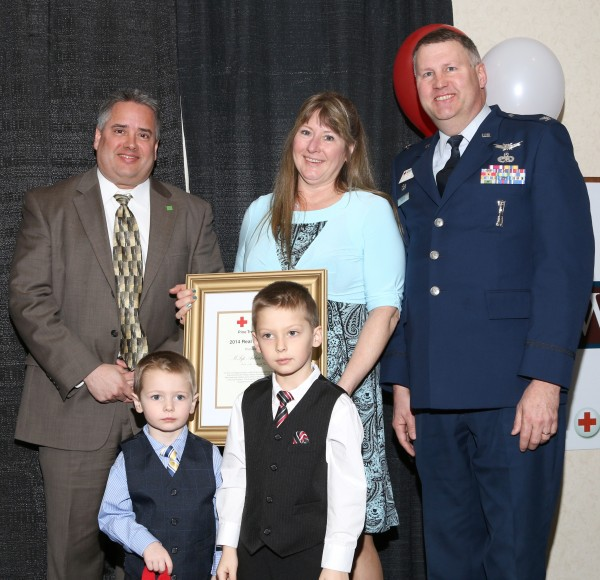 The Unobskey family after Master Sgt. Arthur Unobskey received a Real Heroes Award from the Pine Tree Chapter of the American Red Cross for saving the live of a fellow service member while deployed in Southeast Asia.