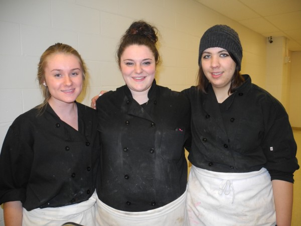 Waldo County Technical Center students Ali Bryant, left, of Jackson, Amanda Schiessl, center, of Brooks, and Oona Foley of Montville will be going to Minneapolis in May to compete in a national culinary competition.