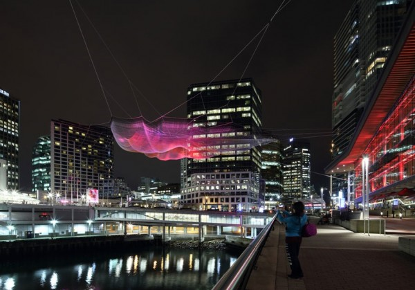Artist Janet Echelman installed a sculpture called &quotSkies Painted with Unnumbered Sparks,&quot using Saco-made rope, in Vancouver this month.