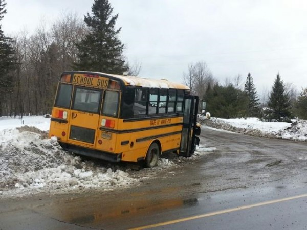 Slippery roads were blamed for a single-vehicle school bus crash Friday morning in Molunkus. Two students on the bus were not hurt, but the driver was taken by ambulance to Millinocket Regional Hospital.