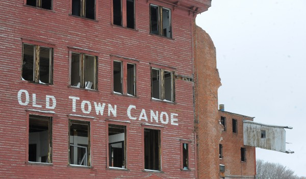 The former Old Town Canoe Co. buildings in downtown Old Town.