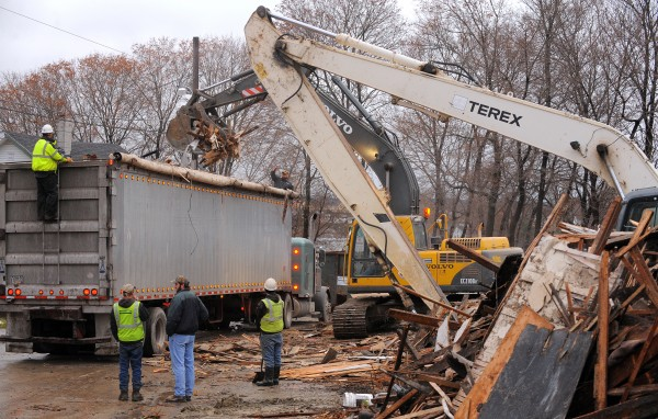 Crews demolish buildings last year on First Street in Bangor.