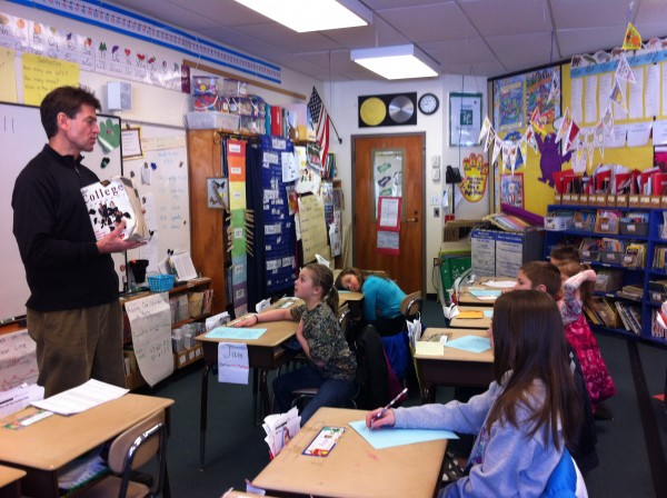 Third-graders at Brownville Elementary School participated in a workshop presented by Maine College Circle's director Bob Stuart. The first thing Stuart taught the students was how to spell the word &quotcollege.&quot