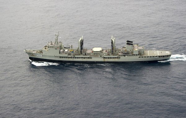 Australian Navy ship HMAS Success is seen, in a photo taken from an Royal Australian Air Force AP-3C Orion patrol aircraft, participating in the search for missing Malaysian Airlines flight MH370 in the southern Indian Ocean on Monday.