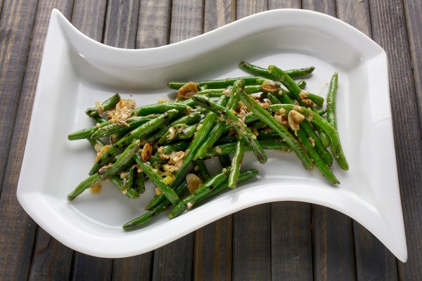 Blackened Green Beans With Garlic, Sesame and Ginger.