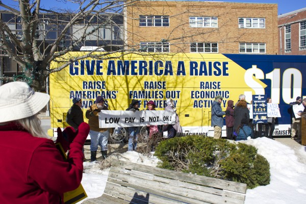 The &quotGive America a Raise&quot bus tour came to Bangor's West Market Square Monday morning in a campaign attempt to increase minimum wage to $10.10 throughout the state.