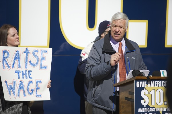 Congressman Mike Michaud spoke during the &quotGive America a Raise&quot bus tour that came to Bangor's West Market Square Monday morning in a campaign attempt by officials to raise the minimum wage to $10.10 throughout the state.