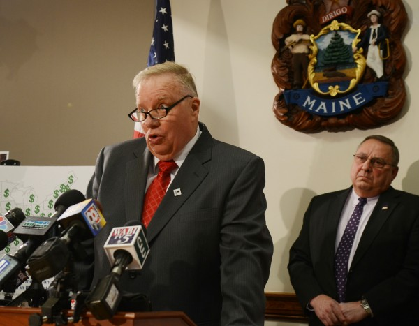 Lewiston Mayor Robert Macdonald speaks about the abuse of EBT cards in his city during a press conference at the State House in Augusta on Monday. Looking on is Gov. Paul LePage, who unveiled four new bills aimed at welfare and EBT card reform.