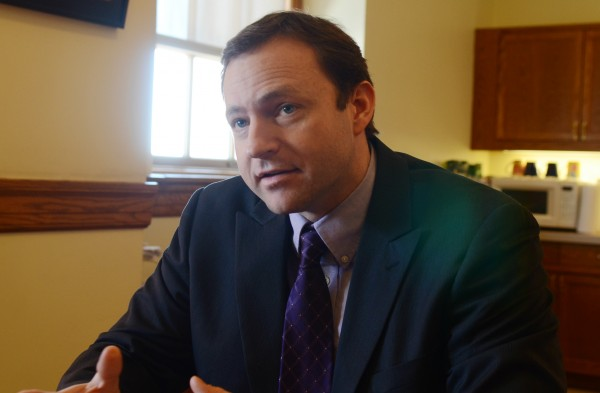 Democratic House Speaker Mark Eves, D-North Berwick, discusses Gov. Paul LePage's welfare reform proposals at the State House in Augusta on Monday.