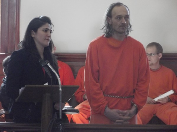 Allen Richardson (right) makes a court appearance in Machias on Monday. Javeneh Pourkarim (left), a Machias attorney, represented Allen, who is charged with manufacturing methamphetamine.