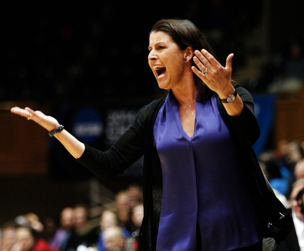 Duke head coach Joanne Palombo McCallie reacts to a call by an official against DePaul in the first half of a second round NCAA Tournament game at Cameron Indoor Stadium in Durham, N.C., Monday night. McCallie is a former University of Maine women's basketball coach.