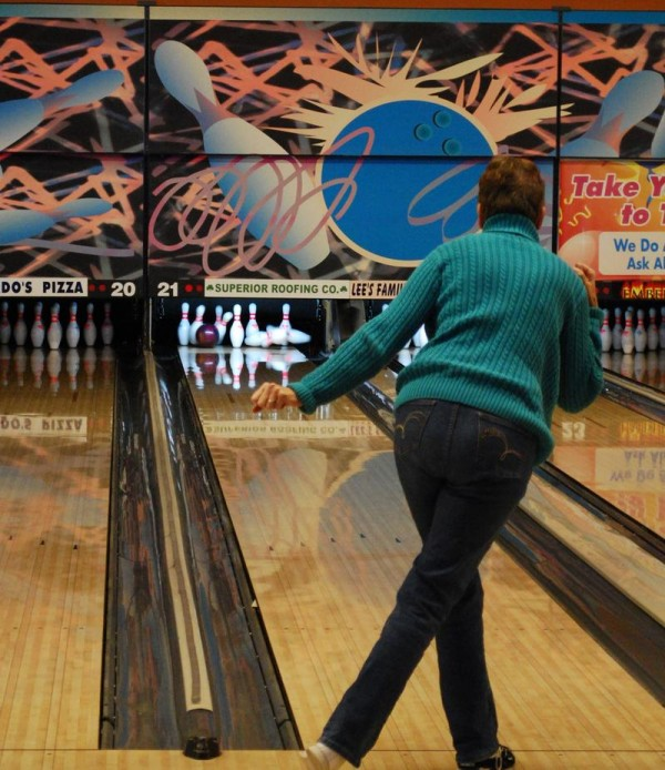 Windham resident Sherri Matzke knocks out a strike Monday at Spare Time Portland on Monday. A bowler since childhood, Matzke said she is thrilled to learn the PBA will stop in Portland early next year.