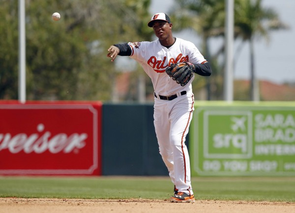 Baltimore Orioles second baseman Jonathan Schoop throws the ball to first for an out during the sixth inning against the New York Yankees at Ed Smith Stadium in this March 2014 file photo.