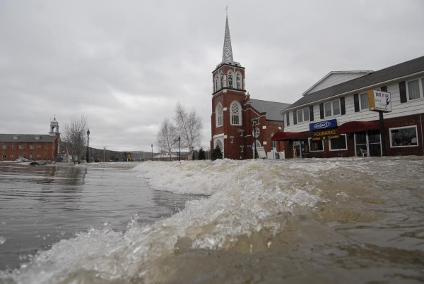 A confluence of Fish River and St. John River overspill could be seen on East Main Street in downtown Fort Kent on April 30, 2008.