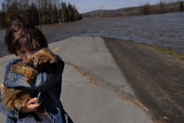 Alisha Theriault of Fort Kent hugs her dog Taz after checking a submerged section of Route 161 in Fort Kent in 2008 while trying to drive toward St. Francis, where she grew up and her mother, Liela Jandreau, resided. Her mother, a rural mail carrier, was unable to retrieve mail because of the flooding from the St. John River.