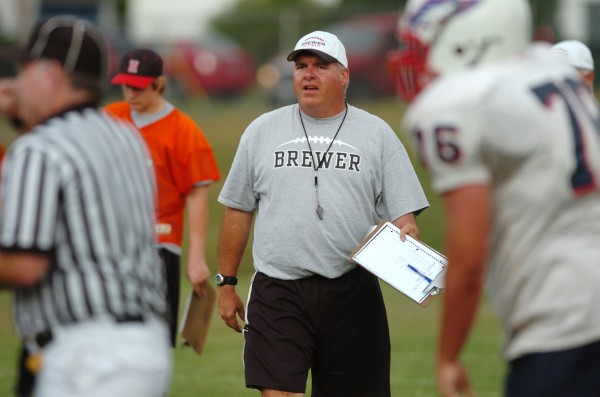 Head coach Don Farnham coaches the Brewer football team during a scrimmage in 2010.