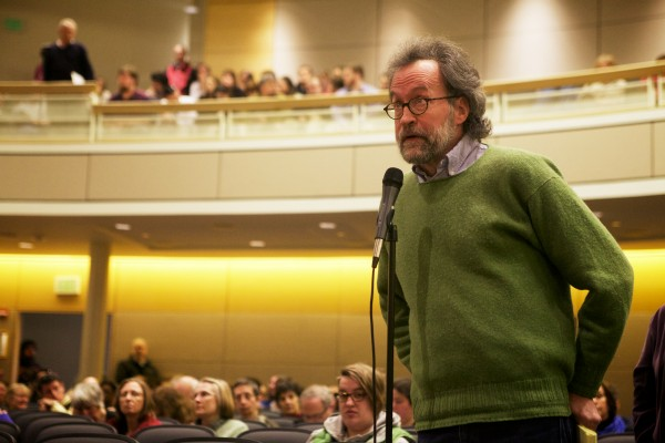 Kent Ryden, head of the free-standing American and New England studies graduate program at the University of Southern Maine, which is being considered for elimination, defends his program at an all-campus forum in Portland on March 19.
