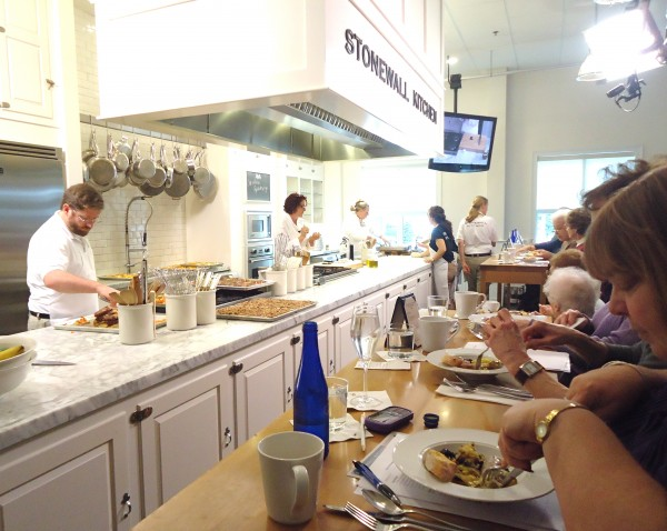 A live demo at Stonewall Kitchen Cooking School's state-of-the-art classroom includes a four-course meal.
