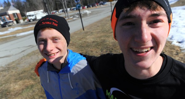 Dan Curts (left) and Braydan Beardsley, Ellsworth High School long-distance runners.