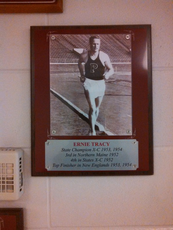Former Ellsworth High School running star Ernie Tracy is featured on a plaque in the school's running hall of fame.