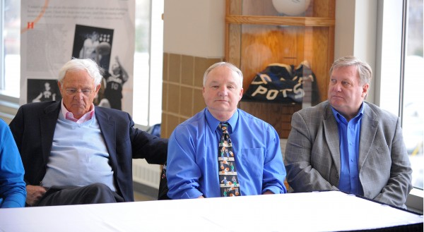 Maine Basketball Hall of Fame inaugural class of 2014 inductees from left, Skip Chappelle, Paul Vachon and Steve Pound during a Wednesday press conference at the Cross Insurance Center in Bangor.