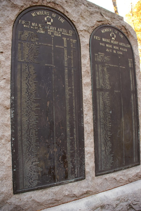Two metal plaques inset in the rear of the 1st Maine Heavy Artillery Regiment monument at Petersburg National Battlefield Park in Virginia identify the regiment's members either killed or mortally wounded during the unit's disastrous charge on June 18, 1864.