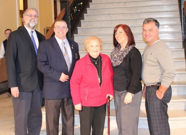Biddeford legislators with the family of Joseph Plamondon, a post-humous inductee into the Franco-American Hall of Fame.  Left to right: Rep. Alan Casavant, D-Biddeford, Sen. David Dutremble, D-York County, Migonne Plamondon, Jolen Plamondon Anton and Jim Plamondon.