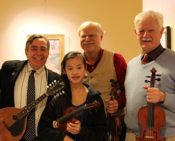 Rep. Deane Rykerson, D-Kittery, Greg Boardman of Maine Fiddle Camps, Rep. Bruce MacDonald, D-Boothbay, and Olivia Pomeroy, daughter of Rep. Rykerson, performed French music in the State House lobby to greet guests.