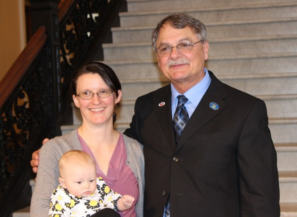 Franco-American caucus chair Rep. Ken Theriault, D-Madawaska, with Melissa Sullivan, granddaughter of Cecile Dufour Pozzuto, and her daughter, Hope Sullivan.