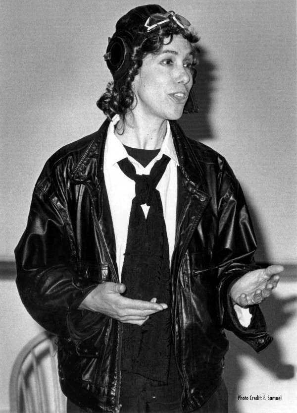 """Jessa Piaia as Amelia Earhart performing her presentation """"Meet Amelia Earhart: First Lady of the Air."""" Piaia deliver her presentation at the Owls Head Transportation Museum at 1 pm on March 8. Admission to the talk is free."""