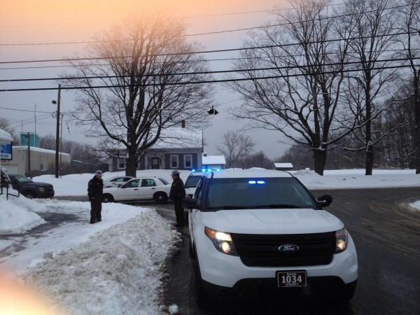 Maine State Police and the Penobscot County Sheriff's Office respond to the report of a robbery in Corinth on Thursday.