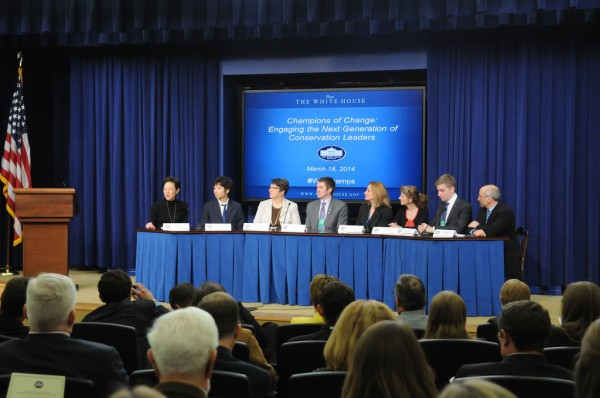 Carol Leone sits on White House Champions of Change Panel for Engaging the Next Generation of Conservation Leaders (seated third from right)