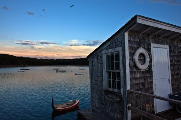 Sunset at the Brooklin Boat Yard, which specializes in wooden boats and was started by E.B. White's son, Joel. It is now run by White's grandson, Steve.