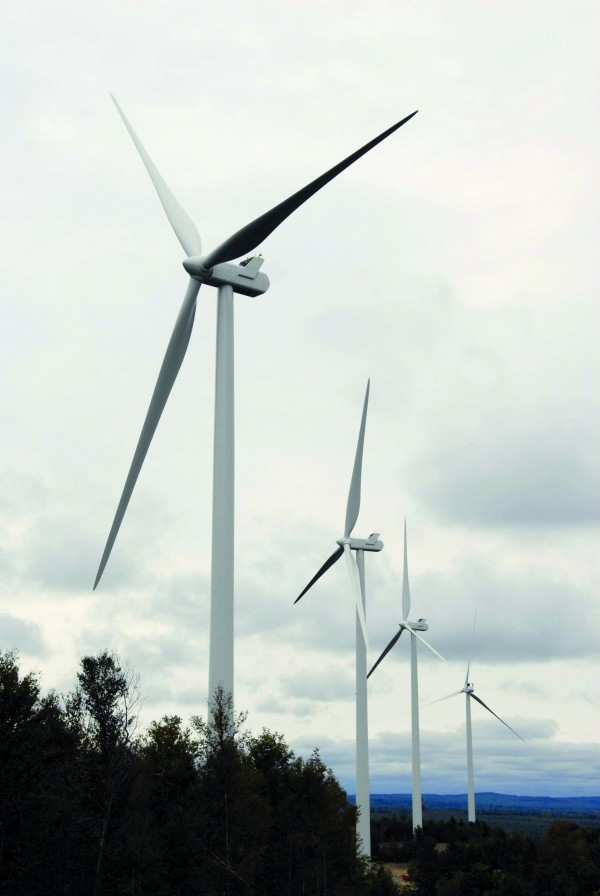 The blades slowly spin on four wind turbines erected as part of the First Wind project in Township 16, Hancock County. With state pushing to develop offshore wind energy, engineers will be needed in many aspects of the industry's expansion.