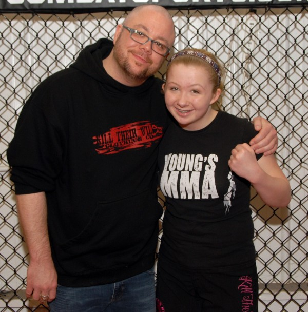 Jassen Bailey and his 14-year-old daughter, Jayda Bailey, train together in adult mixed martial arts classes at Young's MMA in Bangor.