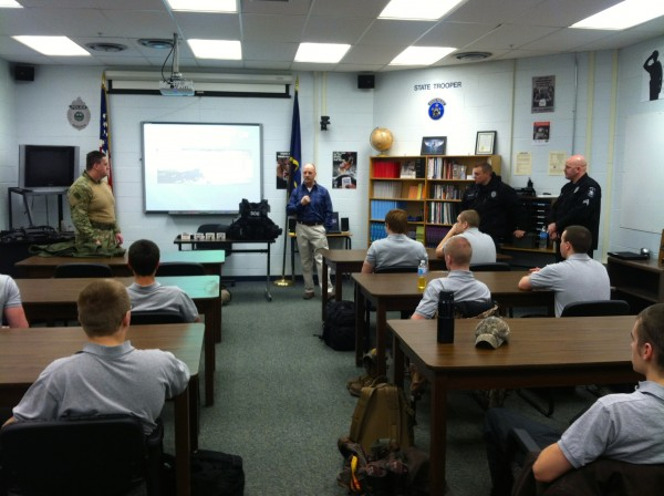 CATC Law Enforcement Instructor Peter Couture introduces MDOC security staff to his students.