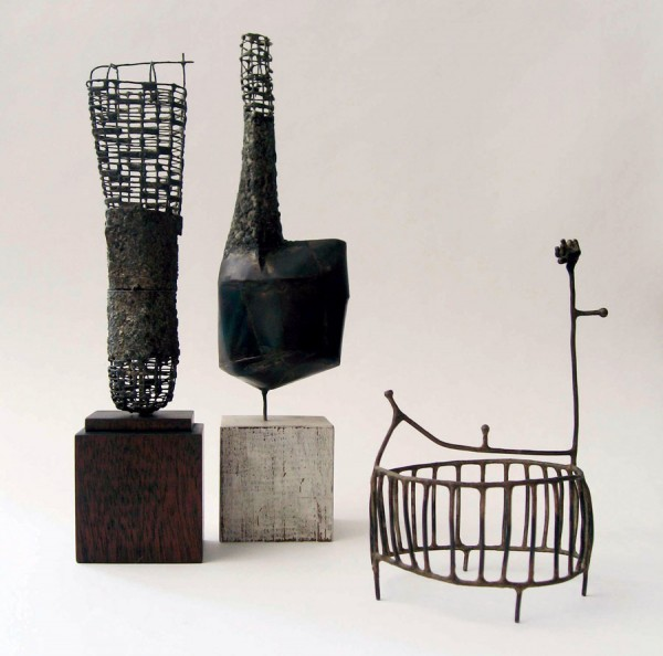 From April 4 to June 7, 2014, the University of Maine Museum of Art will display 27 sculptures and 10 drawings created from 2007 to 2014 by artist Jay Kelly. Among the sculptures will be (left), Untitled #66, (center) Untitled #65, and Untitled #104, all crafted from metal.