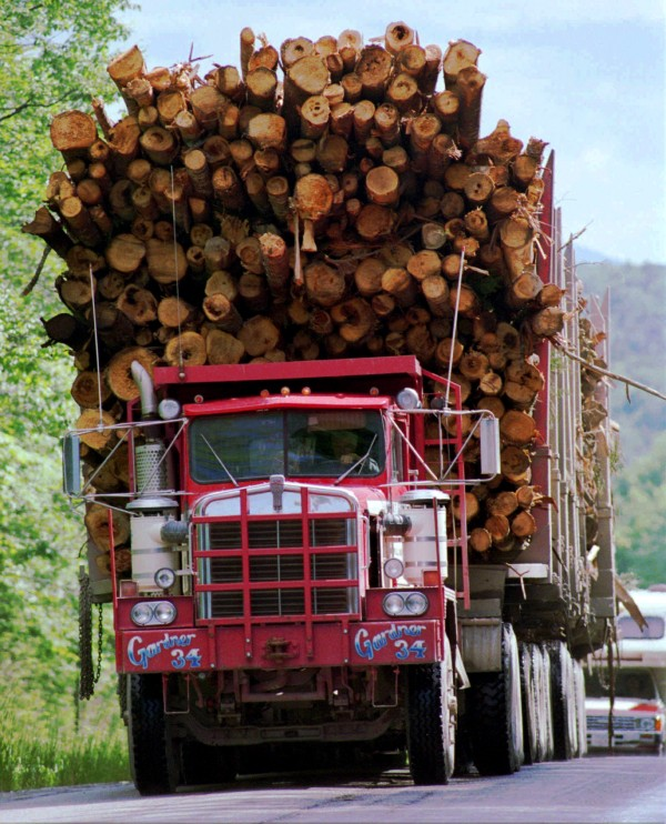 A pulp truck loaded with softwood trees travels on the Golden Road in Township 2 Range 12 in the Maine woods in 1996.