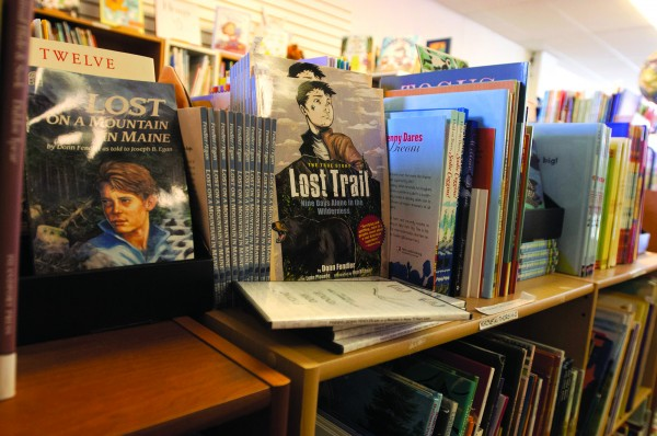 Books written by Maine authors are displayed on the shelves in the Maine authors' section at The Briar Patch, located at 27 Central St., Bangor.